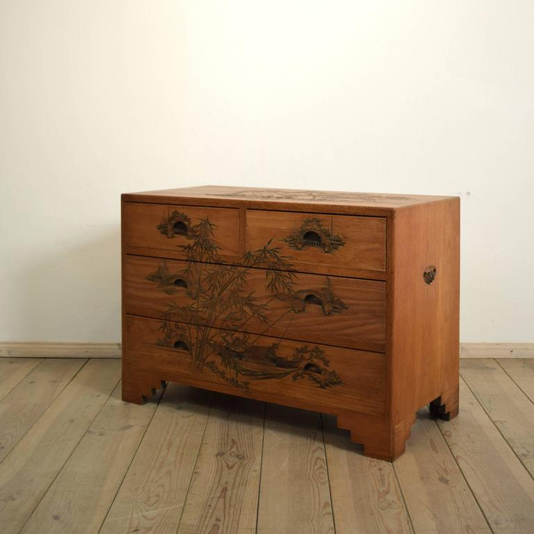 Dutch Colonial Carved Colonial Chest of Drawers from the 1910s For Sale