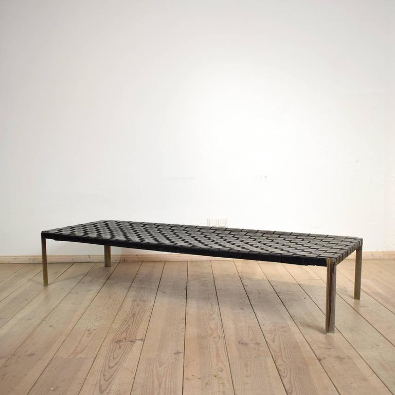 1970s leather and chrome daybed bench by erwine and for Leather daybed bench