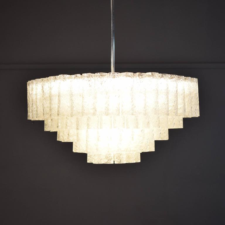 German Large Crystal Chandelier by Doria, circa 1960s with Murano Glass Tubes For Sale