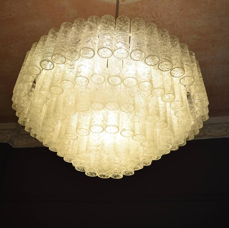 Large Crystal Chandelier by Doria, circa 1960s with Murano Glass Tubes In Excellent Condition For Sale In Berlin, DE