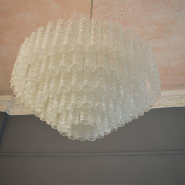 20th Century Large Crystal Chandelier by Doria, circa 1960s with Murano Glass Tubes For Sale