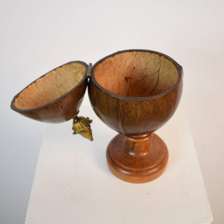 Early 19th Century, German Coconut Box on a Turned Wooden Stand For Sale 2