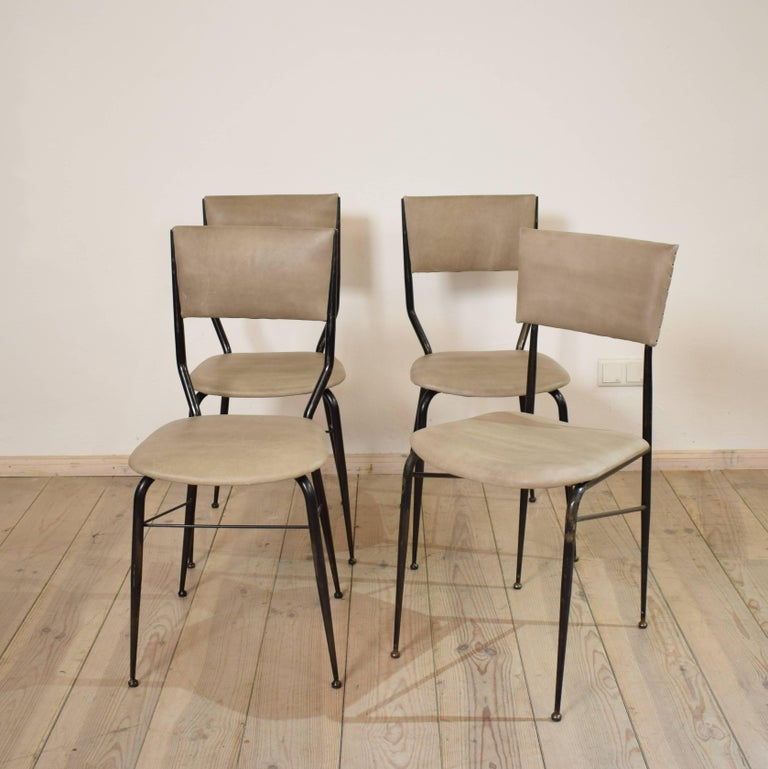 Mid-Century Modern Midcentury Italian Metal and Leather Dining Chairs, Set of Four For Sale