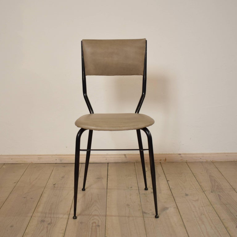Mid-20th Century Midcentury Italian Metal and Leather Dining Chairs, Set of Four For Sale