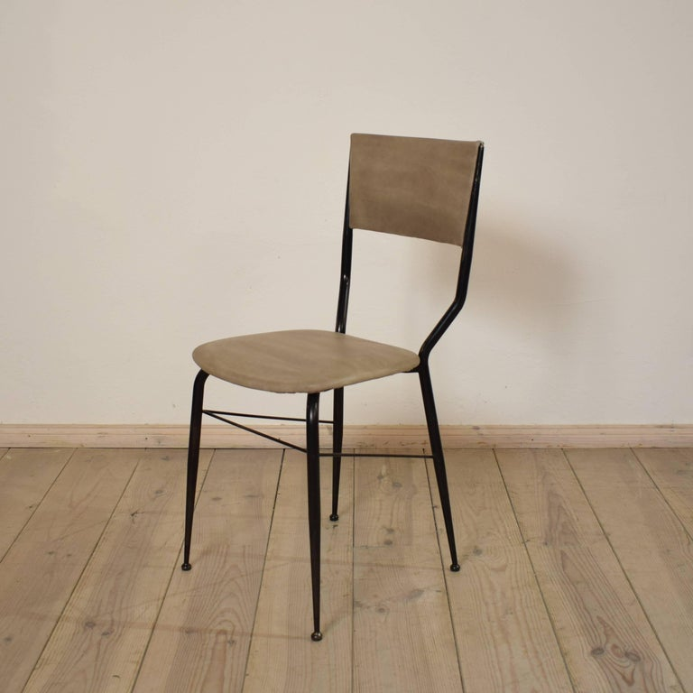 Midcentury Italian Metal and Leather Dining Chairs, Set of Four For Sale 1