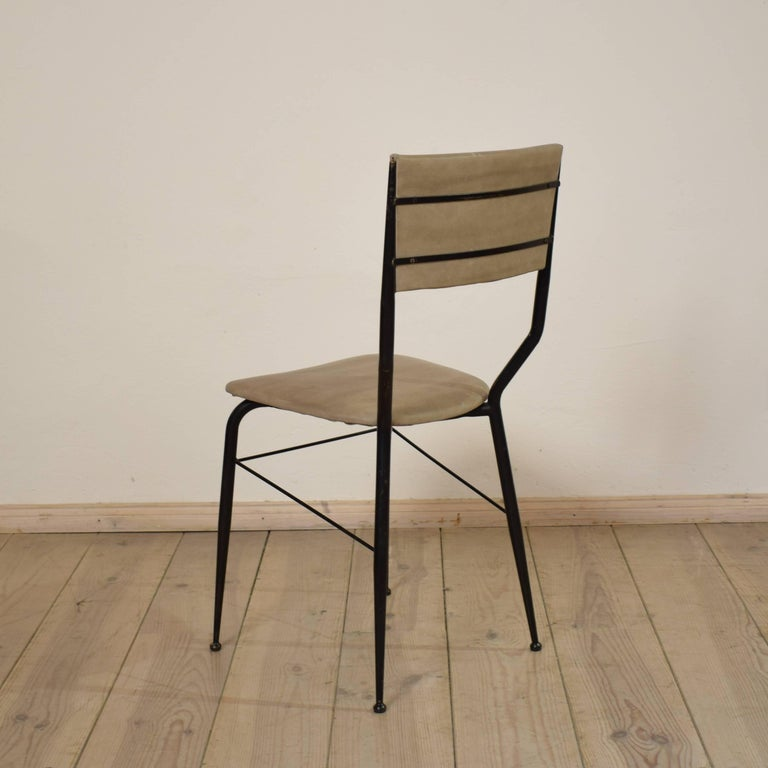 Midcentury Italian Metal and Leather Dining Chairs, Set of Four For Sale 3