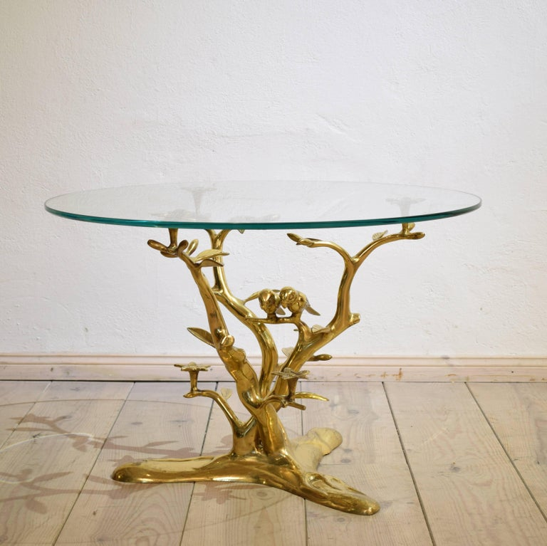 Organic Brass Coffee Table With Birds For Sale At 1stdibs