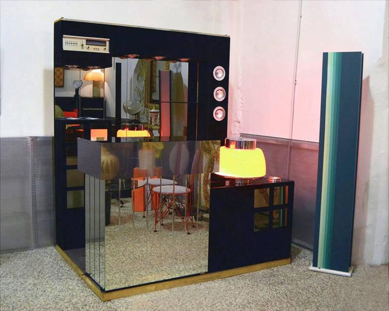 Italian 1960s Bar Furniture with Fridge, Radio and Two Stools 6