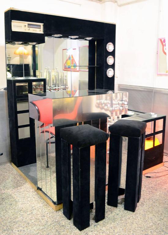 Italian 1960s Bar Furniture with Fridge, Radio and Two Stools 8