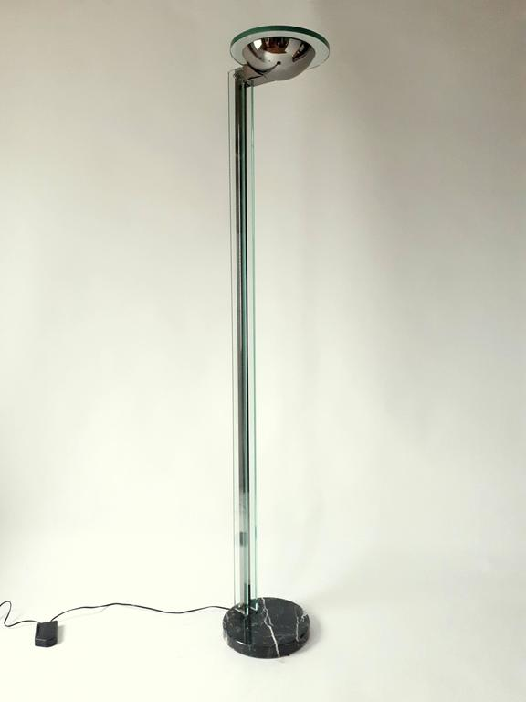 Halogen torchiere floor lamp silver plated glass and marble modern halogen torchiere floor lamp silver plated glass marble italia 1980s aloadofball Gallery