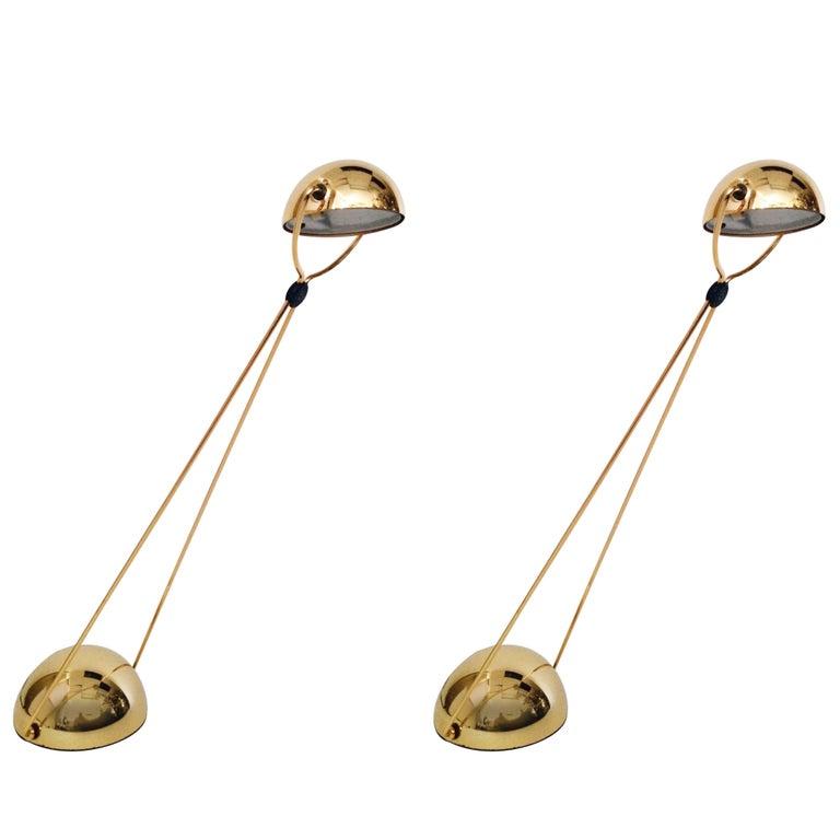 7 Gold-Plated Halogen Table Lamp 'Meridiana' by Stephano Cevoli, 1980s, Italia