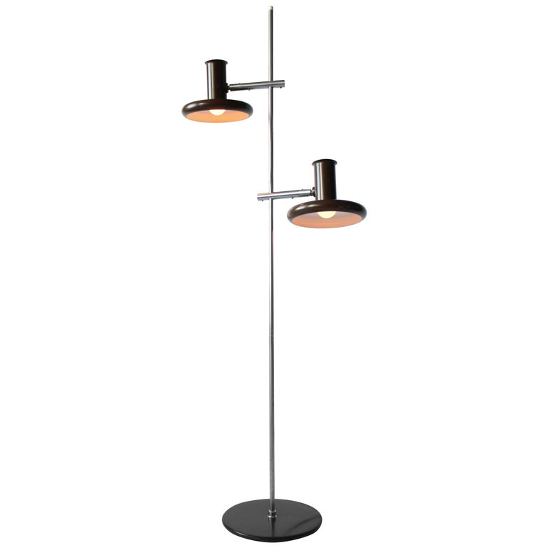 Fog & Mørup Optima Dark Brown Floor Lamp with 2 Shades, 1960s, Denmark