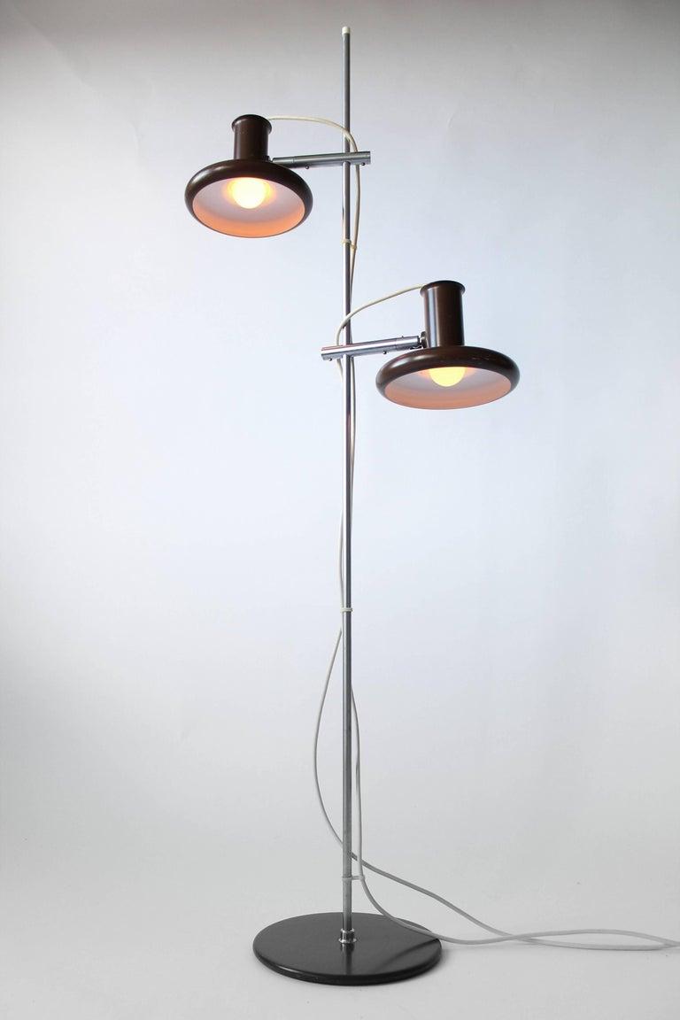 Mid-Century Modern Fog & Mørup Optima Dark Brown Floor Lamp with 2 Shades, 1960s, Denmark