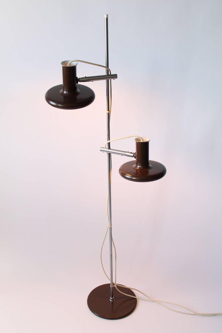 Danish Fog & Mørup Optima Dark Brown Floor Lamp with 2 Shades, 1960s, Denmark