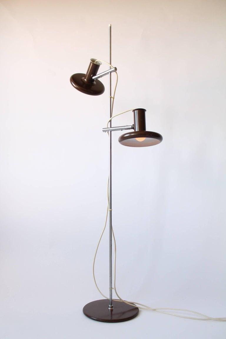 Enameled Fog & Mørup Optima Dark Brown Floor Lamp with 2 Shades, 1960s, Denmark