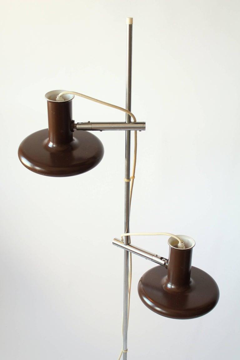 Fog & Mørup Optima Dark Brown Floor Lamp with 2 Shades, 1960s, Denmark In Good Condition In St- Leonard, Quebec