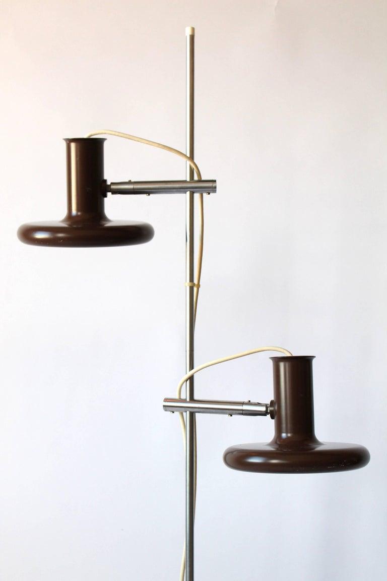 Mid-20th Century Fog & Mørup Optima Dark Brown Floor Lamp with 2 Shades, 1960s, Denmark
