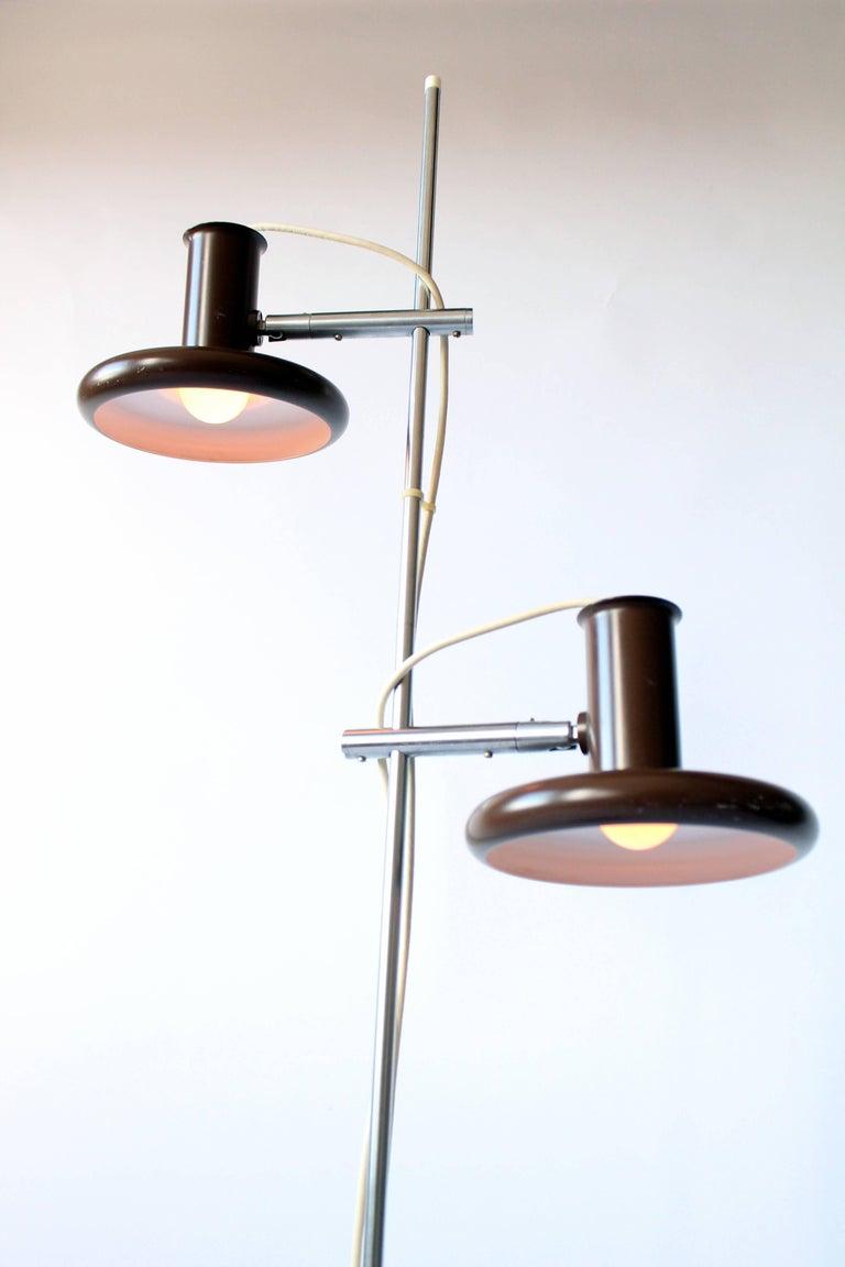 Metal Fog & Mørup Optima Dark Brown Floor Lamp with 2 Shades, 1960s, Denmark