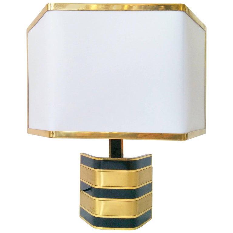 Pair of Romeo Rega Solid Brass Table Lamp, 1970s, Italia For Sale 2