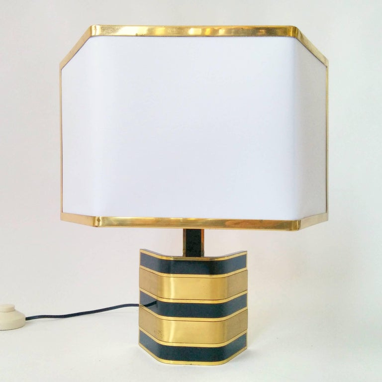Pair of Romeo Rega Solid Brass Table Lamp, 1970s, Italia For Sale 5