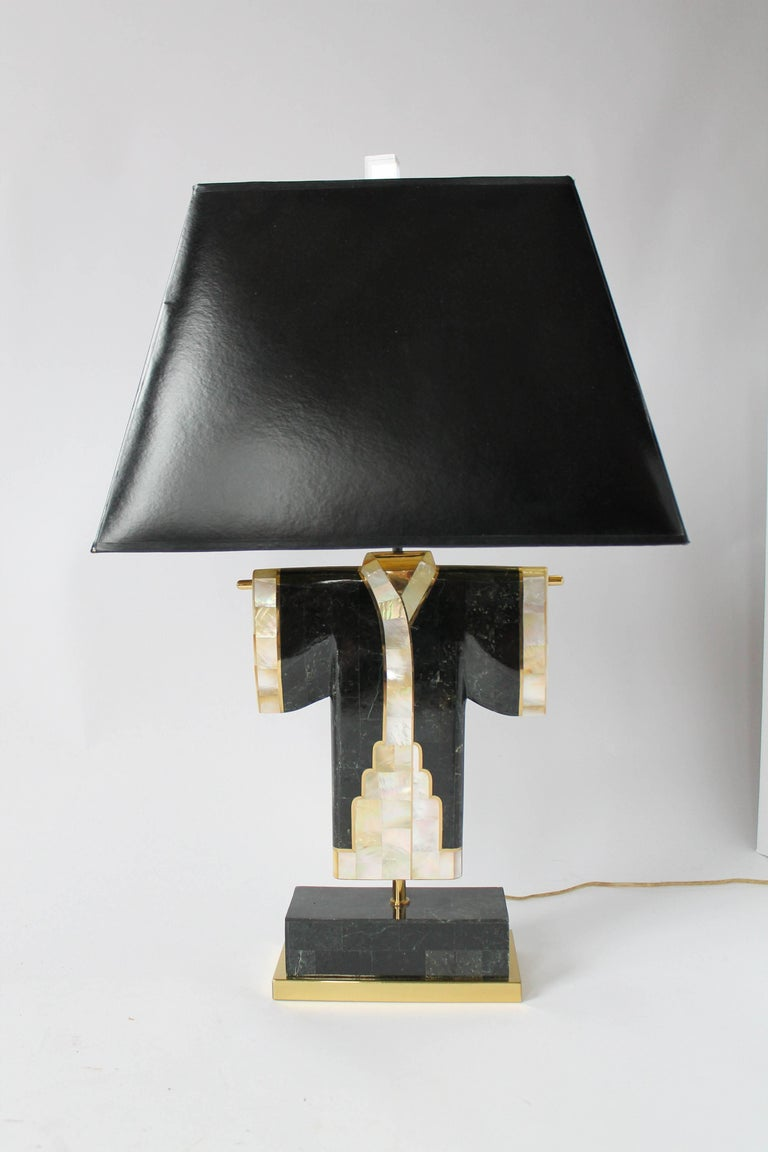Pair of Marble, Brass and Capiz Kimono Table Lamp, USA, 1980s For Sale 12