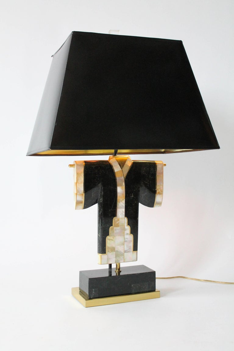 Pair of Marble, Brass and Capiz Kimono Table Lamp, USA, 1980s For Sale 11