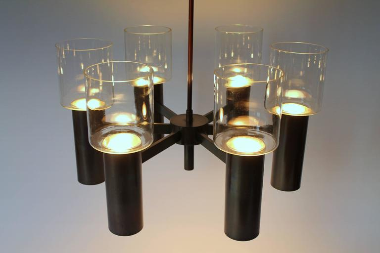 Anodized Six-Arm Twelve-Light Chandelier in the Style of Arredoluce, 1960s, Italy For Sale