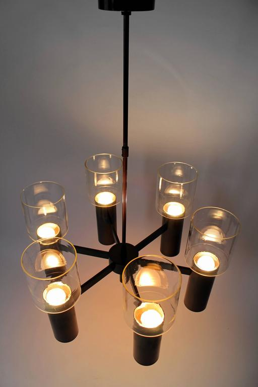 Six-Arm Twelve-Light Chandelier in the Style of Arredoluce, 1960s, Italy In Good Condition For Sale In St- Leonard, CA