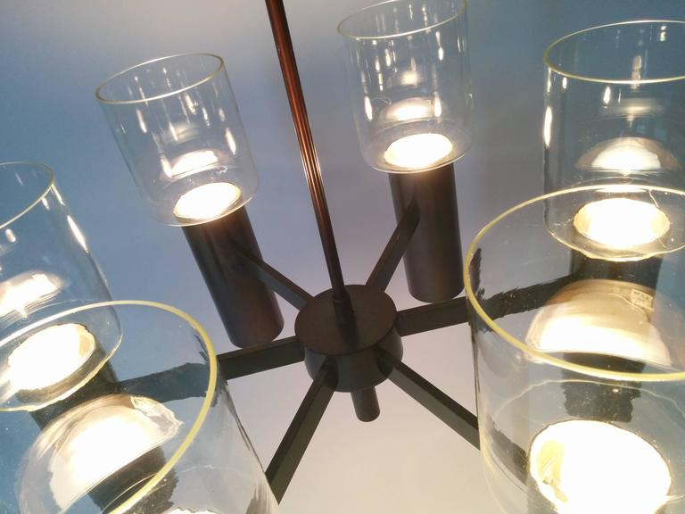 Mid-20th Century Six-Arm Twelve-Light Chandelier in the Style of Arredoluce, 1960s, Italy For Sale