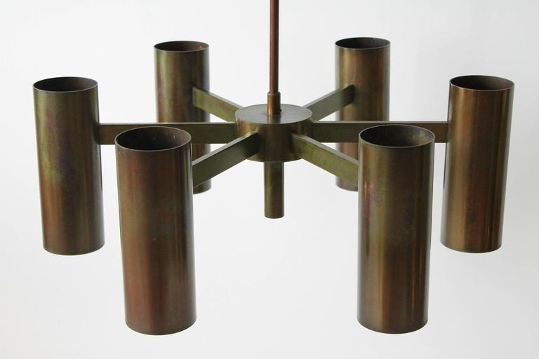 Six-Arm Twelve-Light Chandelier in the Style of Arredoluce, 1960s, Italy For Sale 1