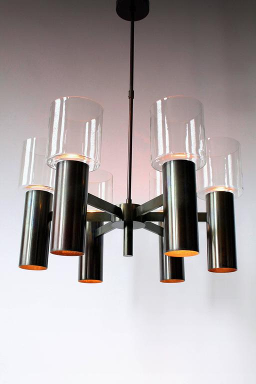 Mid-Century Modern Six-Arm Twelve-Light Chandelier in the Style of Arredoluce, 1960s, Italy For Sale