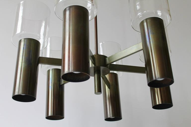 Metal Six-Arm Twelve-Light Chandelier in the Style of Arredoluce, 1960s, Italy For Sale