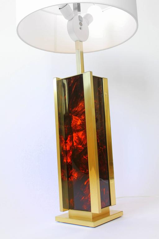Mid-Century Modern Sciolari Brass and Faux Tortoise Massive Table Lamp Vintage, Italia, 1970s For Sale