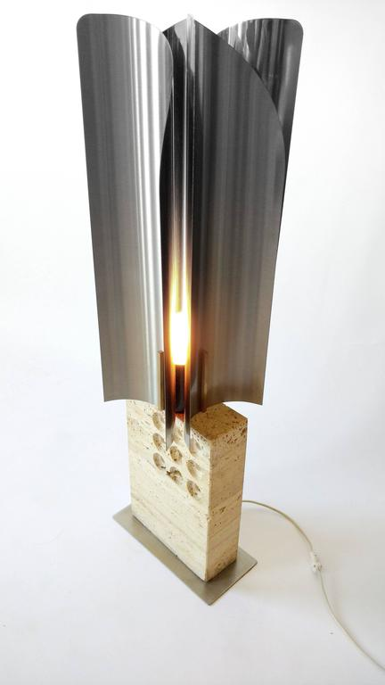 Reggiani Travertine and Stainless Steel Table Lamp Mid ...