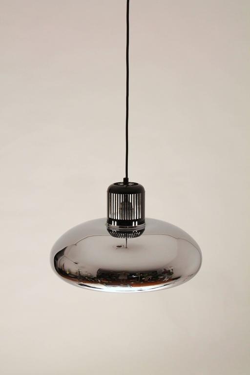 Bakelite Stilnovo Quarter Bell Chrome Chandelier, Mid-Century Modern, 1960s, Italy For Sale