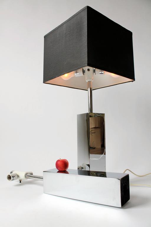 Italian 3 Massive Reggiani Chrome Table Lamp, Mid-Century Modern, Italy, 1960s For Sale