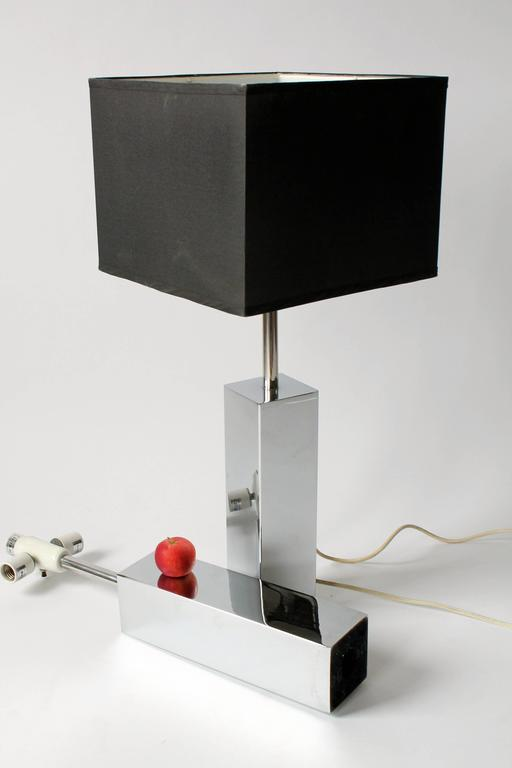 3 Massive Reggiani Chrome Table Lamp, Mid-Century Modern, Italy, 1960s In Good Condition For Sale In St- Leonard, Quebec