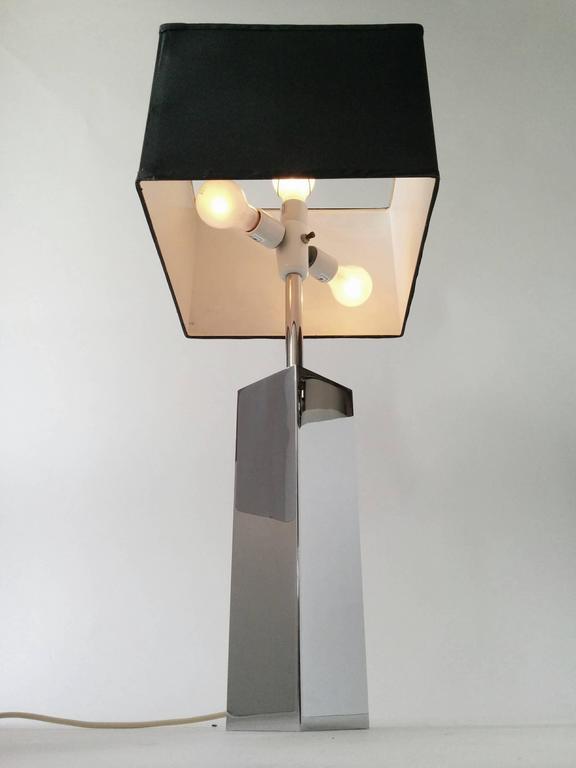 3 Massive Reggiani Chrome Table Lamp, Mid-Century Modern, Italy, 1960s For Sale 2