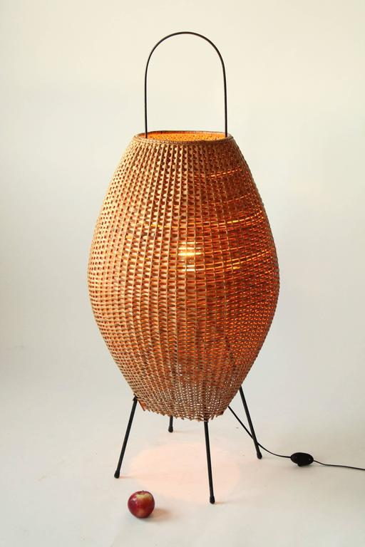 Rare Huge Wicker Floor Lamp In The Style Of Tony Paul