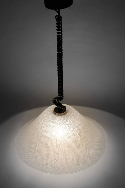 Extremely well-made thick tempered opale glass shade with a texturized relief pattern. 