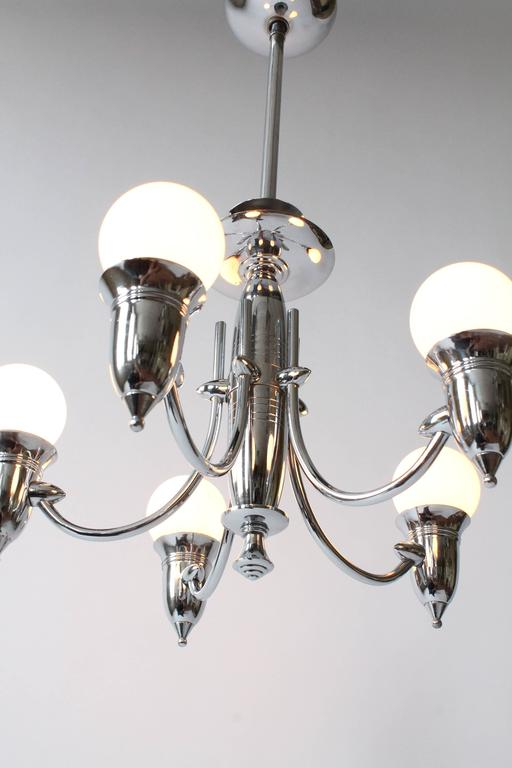 Mid-20th Century Art Deco Five Arms Nickel-Plated Chandelier with Two Matching Pendant, 1930s USA For Sale