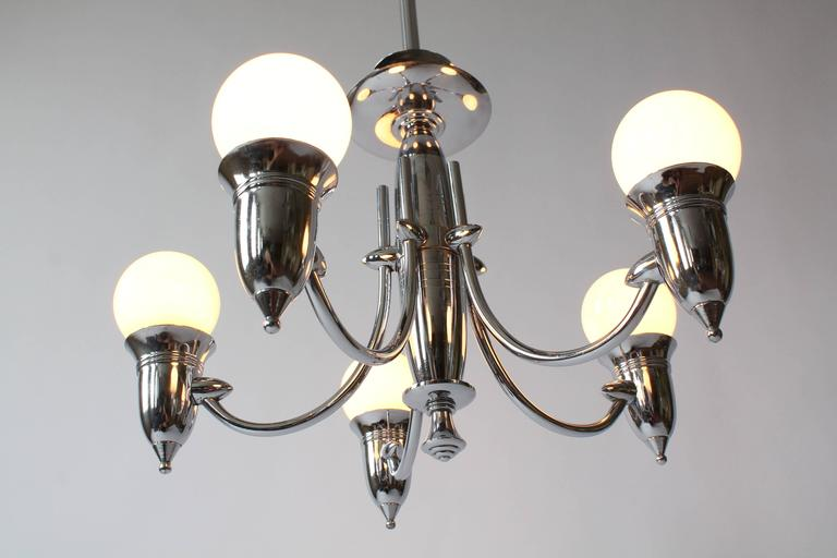 American Art Deco Five Arms Nickel-Plated Chandelier with Two Matching Pendant, 1930s USA For Sale