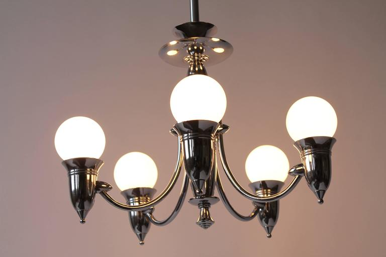 Art Deco Five Arms Nickel-Plated Chandelier with Two Matching Pendant, 1930s USA For Sale 1