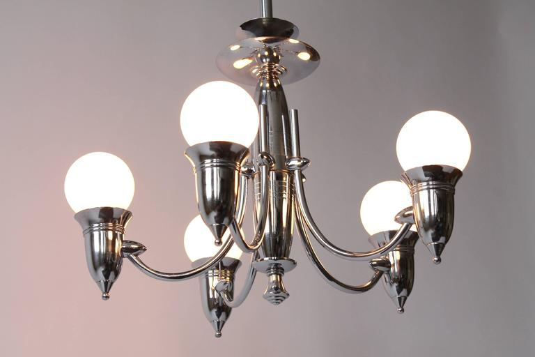Art Deco Five Arms Nickel-Plated Chandelier with Two Matching Pendant, 1930s USA For Sale 2