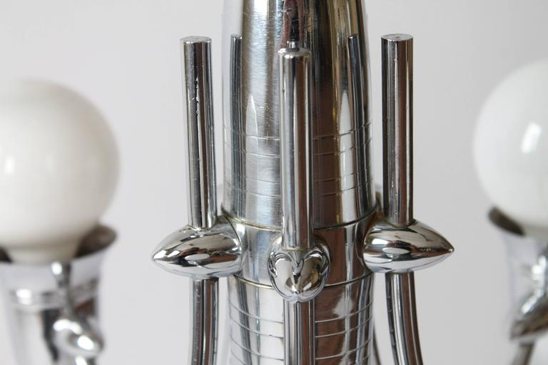 Art Deco Five Arms Nickel-Plated Chandelier with Two Matching Pendant, 1930s USA For Sale 3