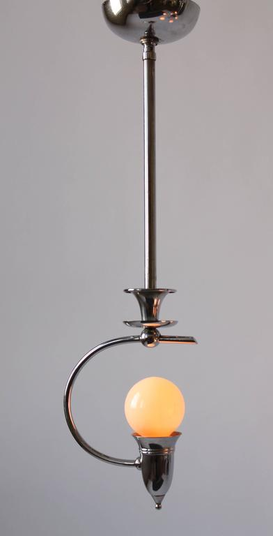 Art Deco Five Arms Nickel-Plated Chandelier with Two Matching Pendant, 1930s USA For Sale 5