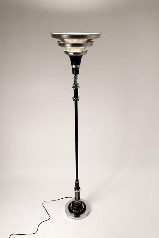 Art Deco, Machine Age, Streamline Torchiere Floor Lamp, 1930s, USA For Sale 3
