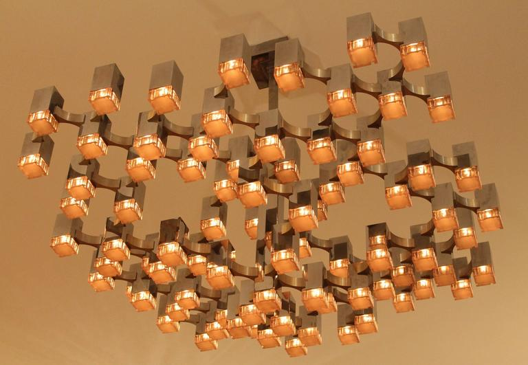 Italian Exceptional 81 Cubes Sciolari Chrome  Chandelier , 1970s , Italy For Sale