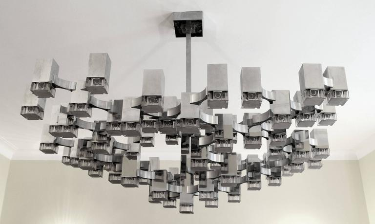 Exceptional 81 Cubes Sciolari Chrome  Chandelier , 1970s , Italy For Sale 4