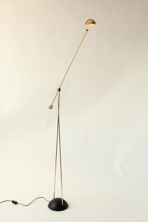 Modern Gold-Plated Halogen Floor Lamp, Yuki from Stephano Cevoli, 1980s, Italia For Sale